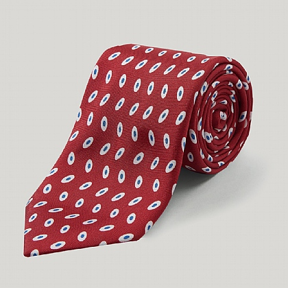 Red and Blue Oval Printed Silk Tie
