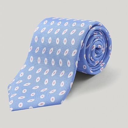 Sky and Pink Oval Printed Silk Tie