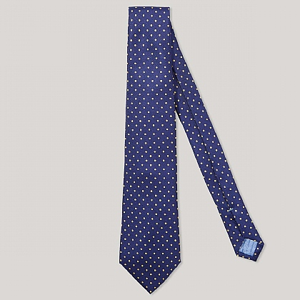 Navy and Gold Spot Printed 100% Silk Tie