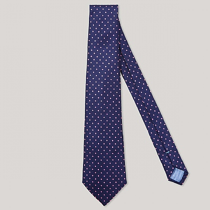 Navy and Pink Spot Printed 100% Silk Tie