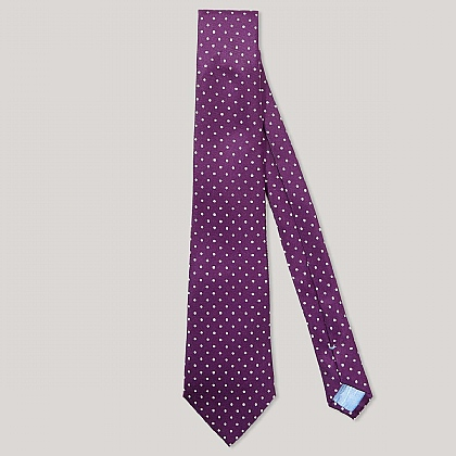 Purple and White Spot Printed 100% Silk Tie