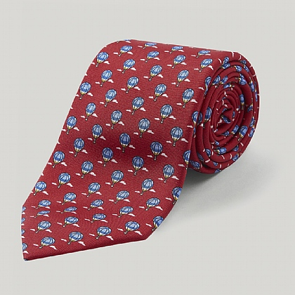 Red and Sky Balloon Printed Silk Tie