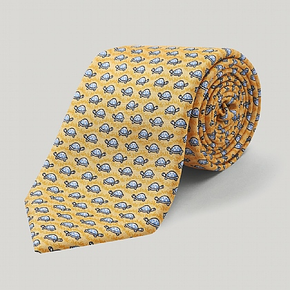 Yellow and White Turtle Printed Silk Tie