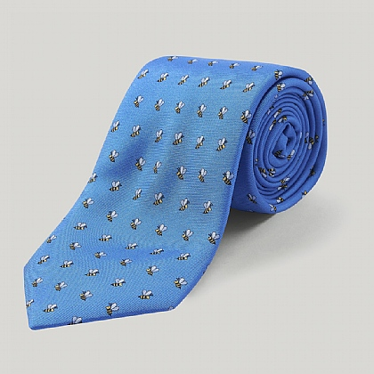 Royal Blue and Sky Bee Printed Silk Tie