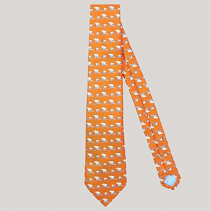 Orange and White Polar Bear Print 100% Silk Tie