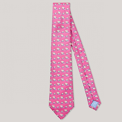Pink and White Polar Bear Print 100% Silk Tie
