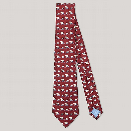 Wine and White Polar Bear Print 100% Silk Tie