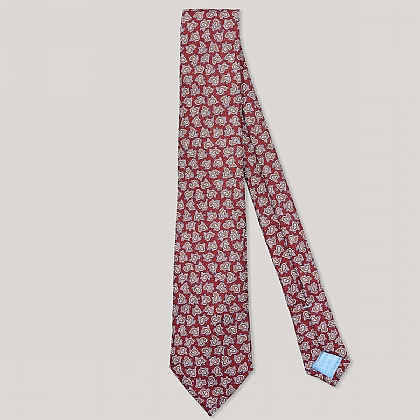 Red and Blue Paisley Printed 100% Silk Tie
