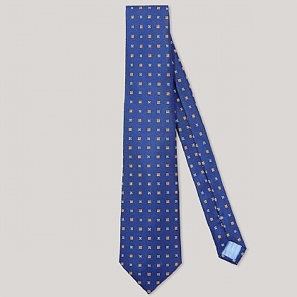 Navy and Sky Box Flower Printed 100% Silk Tie
