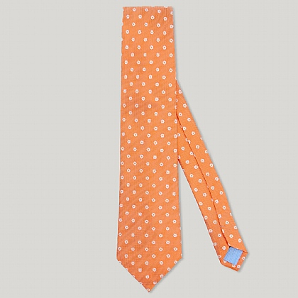 Orange Small Flower Woven 100% Silk Tie