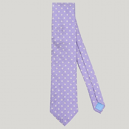 Purple Small Flower Woven 100% Silk Tie