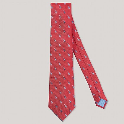 Red and Sky Giraffe 100% Silk Woven Tie