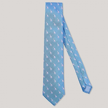 Sky and Pink Giraffe 100% Silk Woven Tie