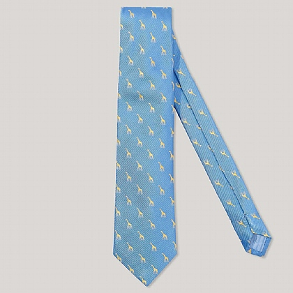 Sky and Yellow Giraffe 100% Silk Woven Tie