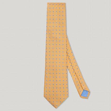 Yellow Small Spot Woven 100% Silk Tie