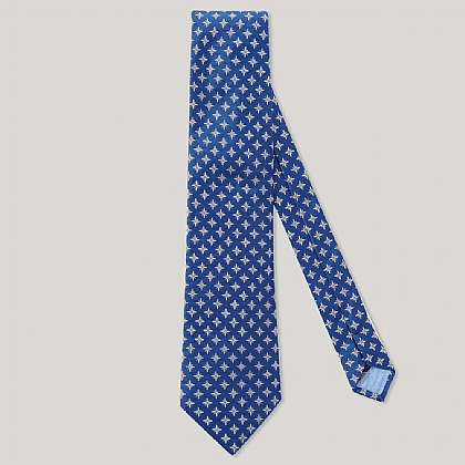 Blue and Silver Star 100% Silk Woven Tie