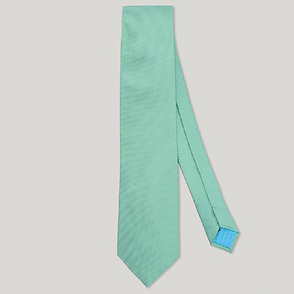 Green Plain Essential Woven 100% Silk Tie