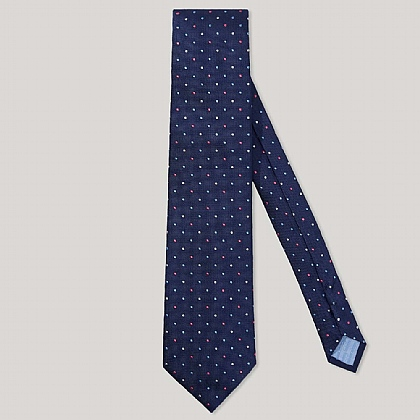 Navy 2 Colour Dot 100% Silk Woven Tie