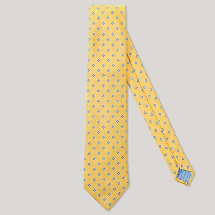 Yellow and Sky Mini Floral 100% Silk Woven Tie