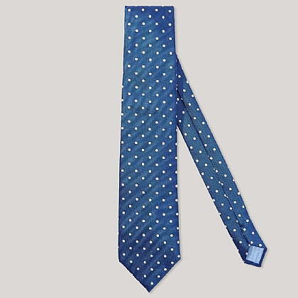 Blue and White Polka Dot 100% Silk Woven Tie