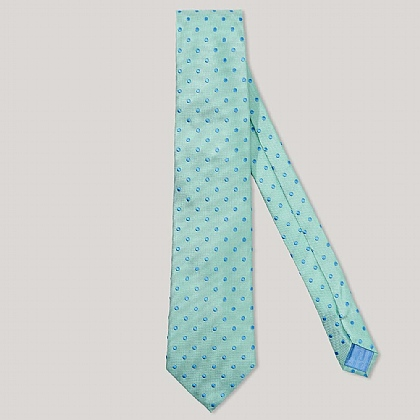 Green and Sky Polka Dot 100% Silk Woven Tie