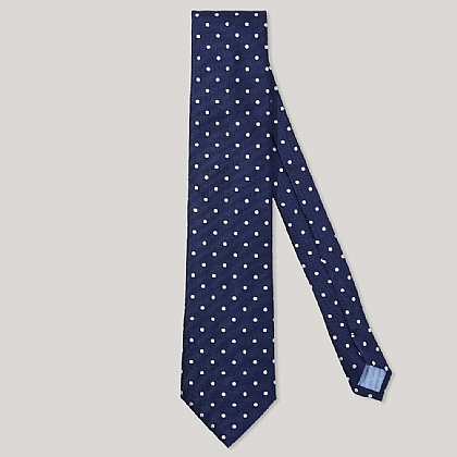 Navy and White Polka Dot 100% Silk Woven Tie