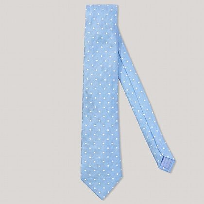 Sky and White Polka Dot 100% Silk Woven Tie