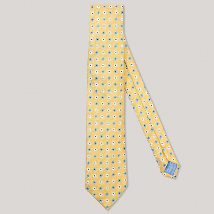 Yellow and Sky 3 Colour Flower 100% Silk Woven Tie
