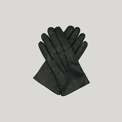Black Capeskin Leather Gloves Cashmere Lined