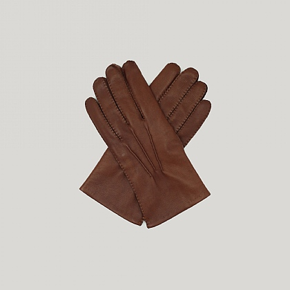 Brown Capeskin Leather Gloves Cashmere Lined