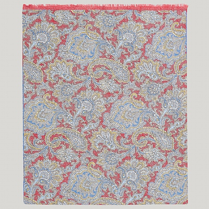 Red and Blue 100% Silk Paisley Printed Scarf
