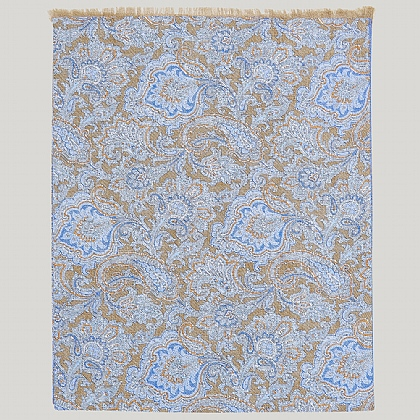 Beige and Blue 100% Silk Paisley Printed Scarf