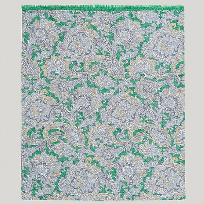 Green and Blue 100% Silk Paisley Printed Scarf