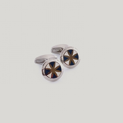 White and Blue Lynfield Circle Star Cufflink