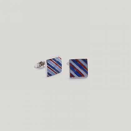 Red and Sky Ledwich Square Stripe Cufflink