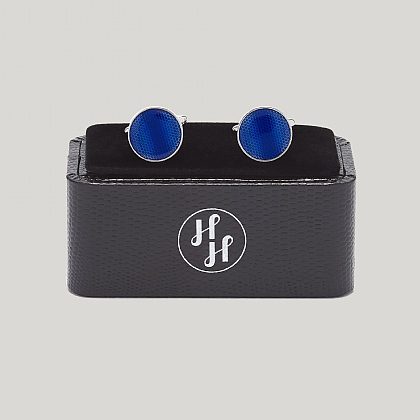 Blue Grid Detail Cufflink