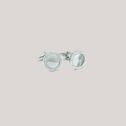 White Mother of Pearl Circle Cufflink