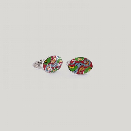 Scarlet and Emerald Paisley Cufflink