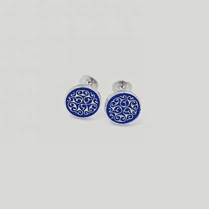 Blue Celtic Enamel Rhodium Plated Cufflink
