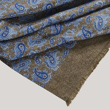Beige Paisley and Abstract Silk Scarf