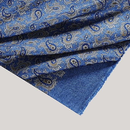 Blue Paisley and Abstract Silk Scarf
