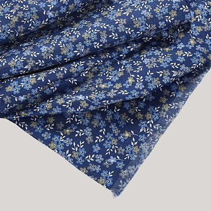 Blue Flower Silk Scarf