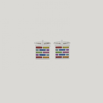 Multi Coloured Brickwork Cufflink