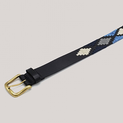 Black with Blue Polo Pattern Belt
