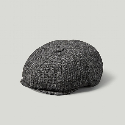 Grey Herringbone Tweed Baker Boy Cap