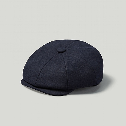 Navy Melton Wool Cap