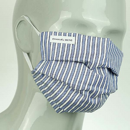 Blue and White Stripe Cotton Face Mask