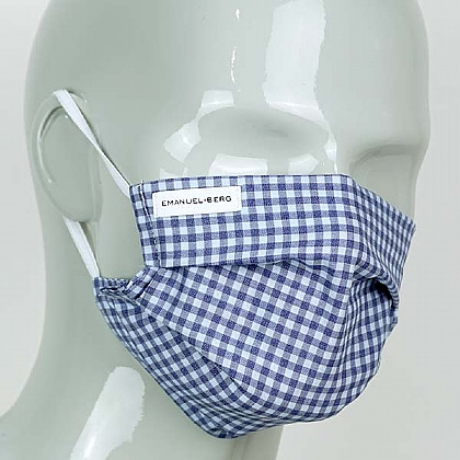 Blue and Sky Check Cotton Face Mask