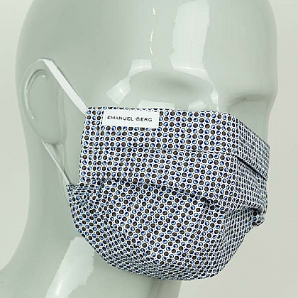 Blue Multi Squares Cotton Face Mask