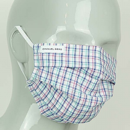 Blue and Pink Check Cotton Face Mask